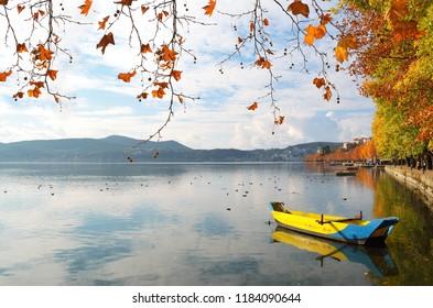 Autumn scene at Kastoria lake waterfront in Greece