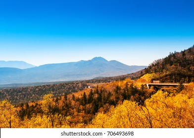 Autumn scene and mountain range in Sounkyo, Hokkaido