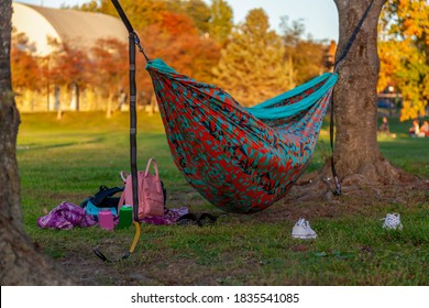 An autumn scene in a park with a colorful hammock set between trees and someone is sleeping in it. A pink backpack, sneakers, canned drinks are scattered around the hammock