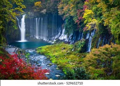 Autumn scene of Shiraito waterfall in the southwestern foothills of Mount Fuji, Shizuoka, Japan