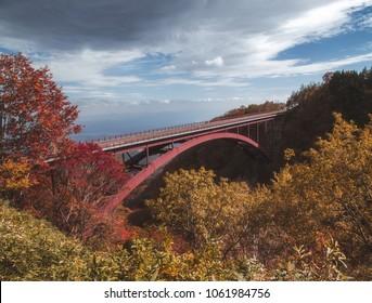 Autumn scenery of the Bandai Azuma Skyline at Fukushima