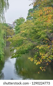 Autumn scenery of the Kurashiki river in Kurashiki city, Japan