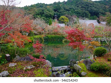 Autumn scenery with the lake at Eikando Temple in Kyoto, Japan. Eikando Zenrinji Temple is located in the upper-central east of Kyoto city.