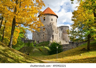 autumn scenery of medieval baltic castle Verden and autumn park with colorfull trees