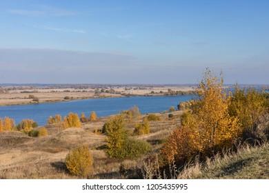 Autumn scenery of the Oka River valley near Konstantinovo, toned