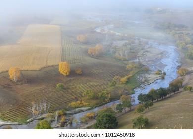 Autumn scenery on the dam