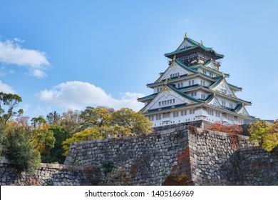 Autumn scenery of Osaka castle park, Osaka, Japan.