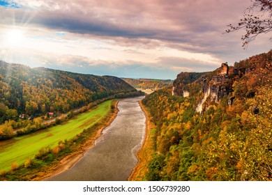 Autumn scenery with panoramic view of Elbe valley in the Saxon Switzerland, Resort Rathen, Saxony, Germany. Elbe Sandstone Mountains.