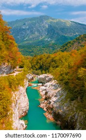 Autumn scenery of Soca (Isonzo) river near Kobarid (Caporetto) Slovenia. Soca river - popular place for active recreation in Julian Alps and place of World War I memory