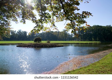 Autumn scenery with trees and pons