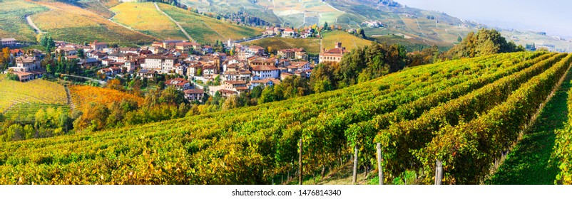 Autumn scenery, Vineyards in contryside of Piedmont, Barolo village and castle. Wine tour in Italy