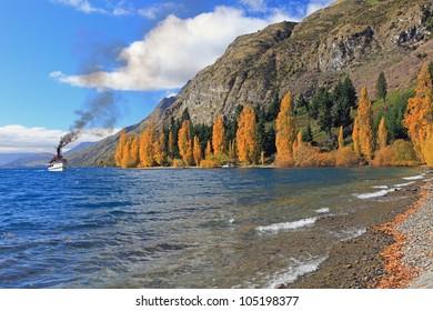 Autumn scenery at the Wakatipu lake Queenstown Southern island New Zealand