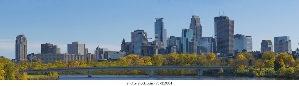 Autumn season Downtown Minneapolis Mississippi River view