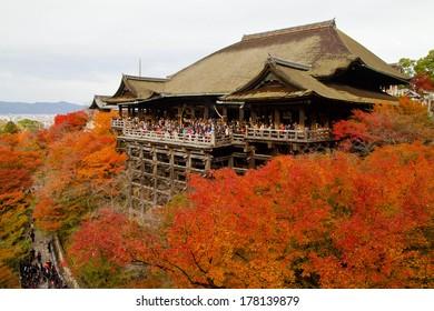 Autumn season at Kiyomizu Temple in Kyoto Japan. Kiyomizu-dera is one of  UNESCO World Heritage place.