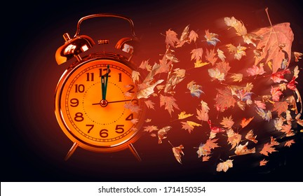 autumn season time clock flying dry leaves, memories nostalgia dark background