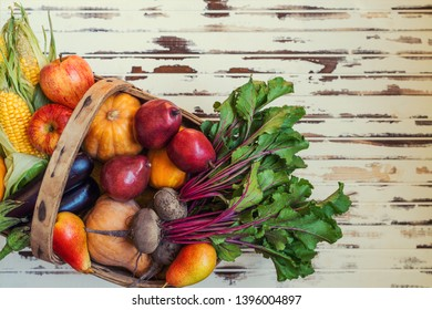Autumn seasonal cooking concept. Various autumn seasonal organic vegetables and fruits pumpkin, beetroot, corn, eggplants, apples and pears in basket on wooden rustic table. Healthy food, clean eating