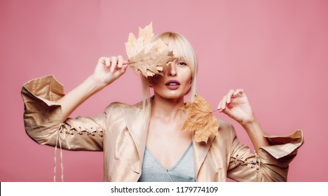 Autumn sensual blonde girl. Autumn Leaves Festival. Advertisement concept. Copy space for advertising. Beauty face