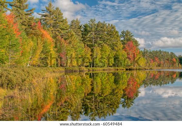 Autumn Shoreline Island Lake Reflections Calm Stock Photo
