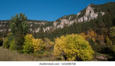 Autumn in Spearfish Canyon in Black Hills, South Dakota