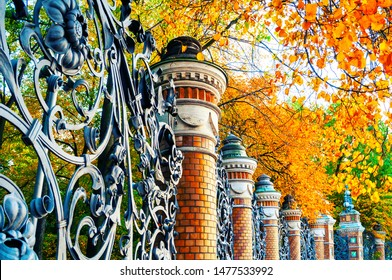 Autumn in St Petersburg - fence of the Mikhailovsky Garden in St Petersburg, Russia in autumn day. Autumn architecture view of St Petersburg landmark framed by autumn yellowed trees