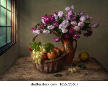Autumn still life with bouquet of chrysanthemums and fruits