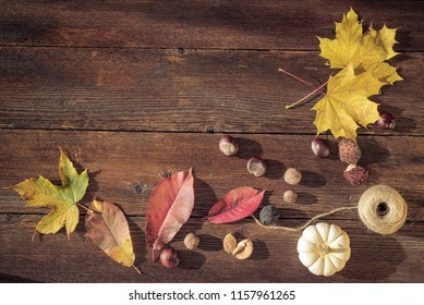Autumn still life concept background. Fall leaves, harvest goodies on table top. Space for text, Thanksgiving postcard