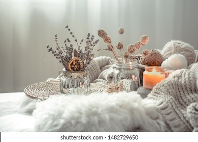Autumn still Life home decor in a cozy house. Autumn weekend concept. Fall home decoration.