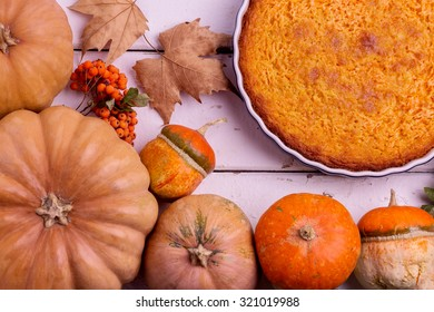Autumn still life. Homemade Pumpkin Pie for Thanksgiving Day. Selective focus.
