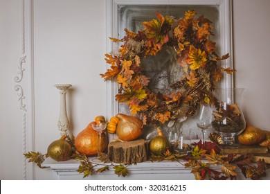 Autumn still life on the mantelpiece