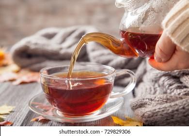 Autumn Still Life: Tea on maple leaves on a old wooden table