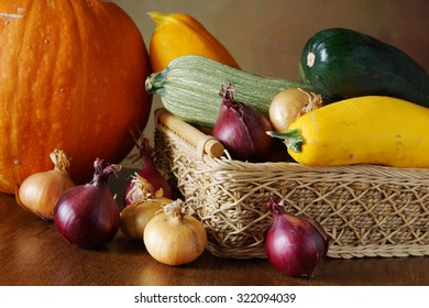 Autumn still life with a lot of various vegetables