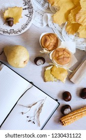 Autumn still life in yellow colors. Autumn or winter concept, lifestyle blogers. Flat lay, top view.