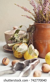 Autumn still with pears and heather