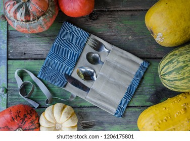 Autumn style vintage background with colorful pumpkins for present environmental friendly idea