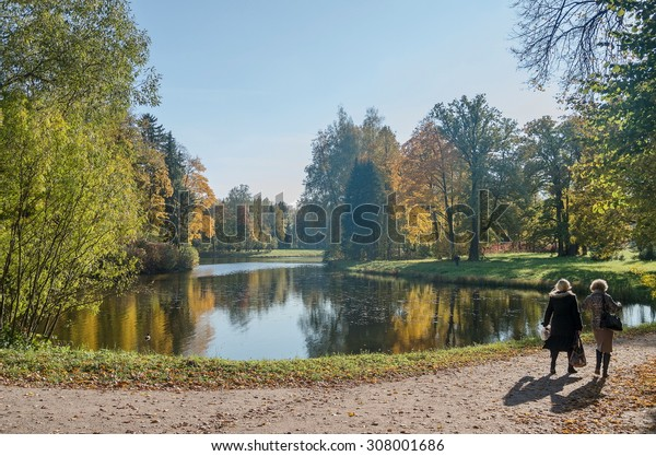 Autumn sunny landscape of North-West Russia