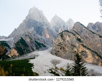 Autumn sunrise in Dolomites mountains South Tyrol