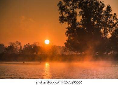 Autumn sunrise over the Biesbosch