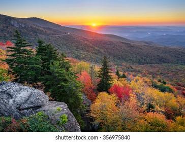 An autumn sunrise over the Blue Ridge Parkway in North Carolina
