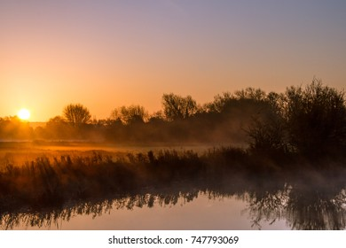 Autumn Sunrise Over the River Thames at Cheese Wharf, Oxfordshire