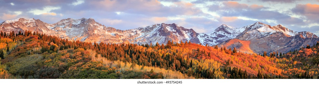 Autumn sunrise panorama in the Wasatch Mountains, Utah, USA.