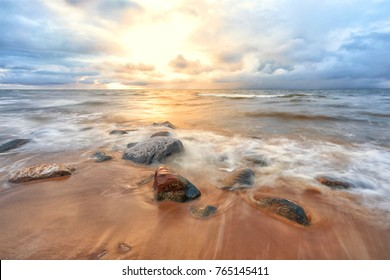 Autumn sunset in the Baltic Sea