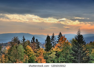 Autumn sunset in Beskid Zywiecki - part of Beskidy mountains in Poland.