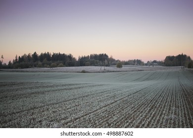 autumn sunset, clouds, beautiful landscape with morning frost