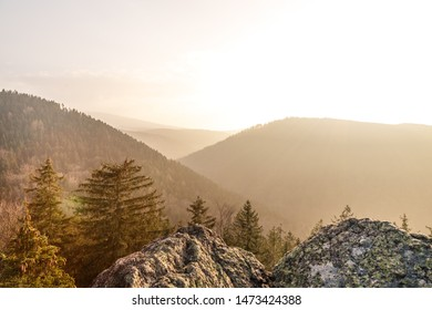 Autumn sunset on a cliff in the Ilsetal, Harz mountains