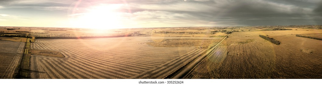 Autumn sunset on the Midwest plains of South Dakota