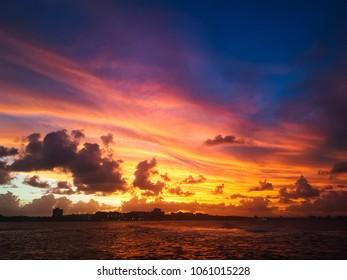 An autumn sunset over Mooloolaba on the Sunshine Coast in Queensland, Australia.