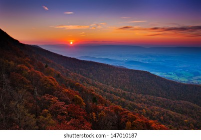 Autumn sunset over the Shenandoah Valley and Appalachian Mountains from Little Stony Man, in Shenandoah National Park, Virginia.