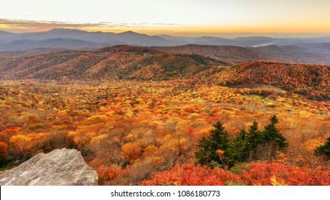 Autumn Sunset from Sugar Mountain  North Carolina Blue Ridge Mountains