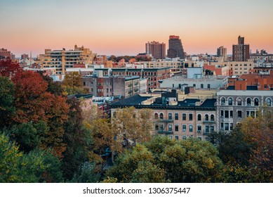 Autumn sunset view over Harlem from Morningside Heights in Manhattan, New York City
