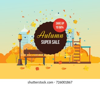 Autumn super sale background with colorful seasonal leaves. Special offers and discount systems. Autumn kids playground, entertainment in the form of horizontal bars and swings. Illustration isolated.